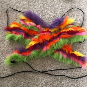 Rabbit Fur Pop Color Crop Tops